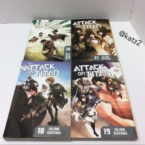 Attack on Titan books Volumes 18, 19, 20 and 21